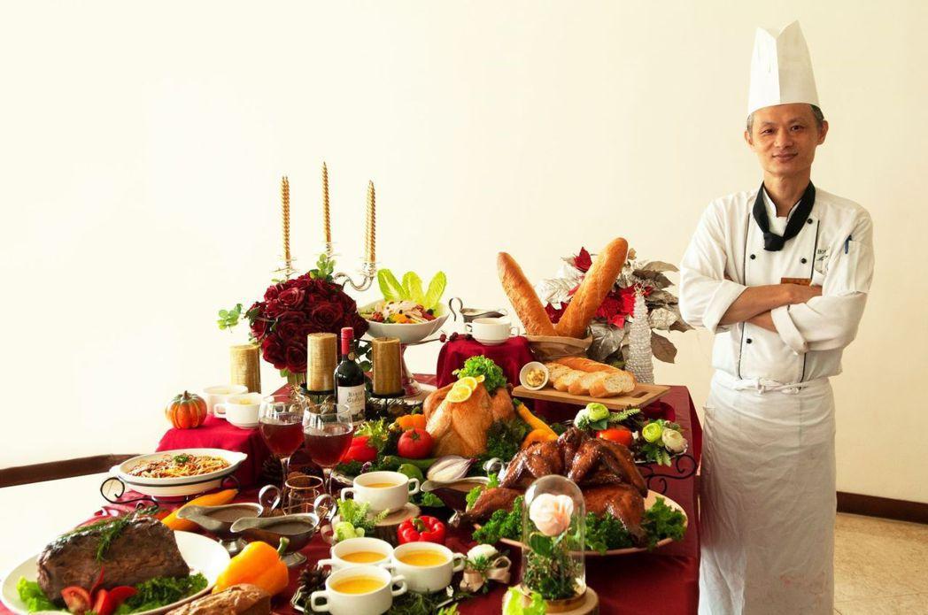 飯店大廚精心打造的聖誕大餐。  台南大飯店 提供