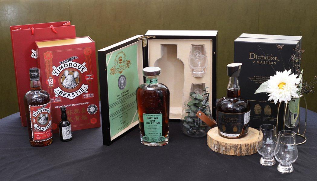圖左至右為充滿創意的道格拉斯蘭恩獨立裝瓶廠威士忌(Douglas Laing)與...