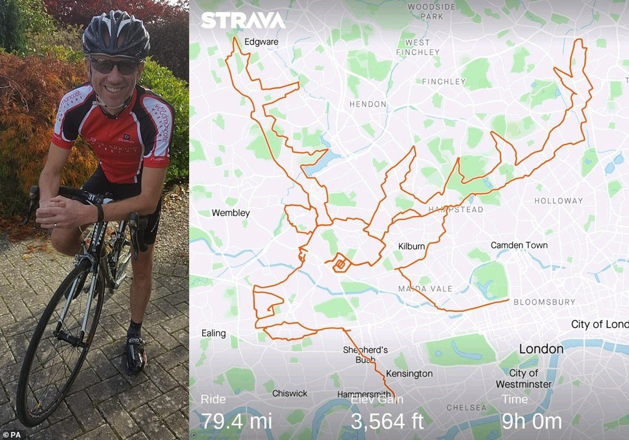 英國一名51歲的業餘自行車手,利用健身追蹤APP的GPS功能,花費9小時在地圖上...