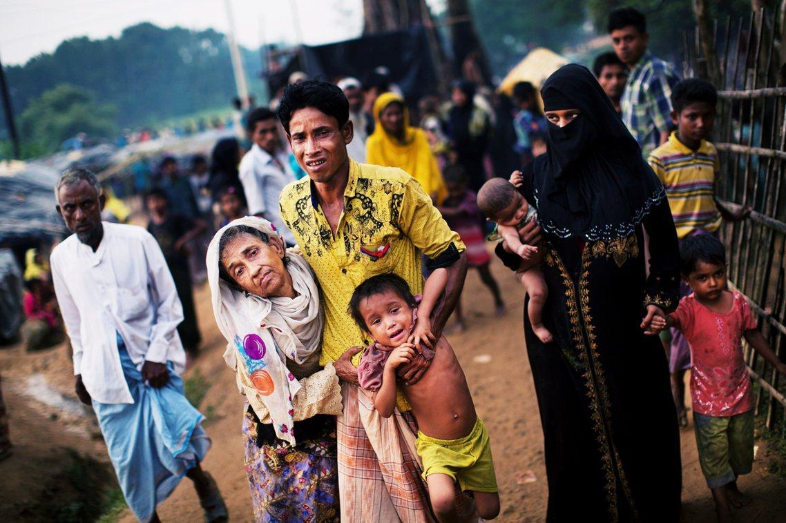 2017年流亡的羅興亞人。 圖/美聯社