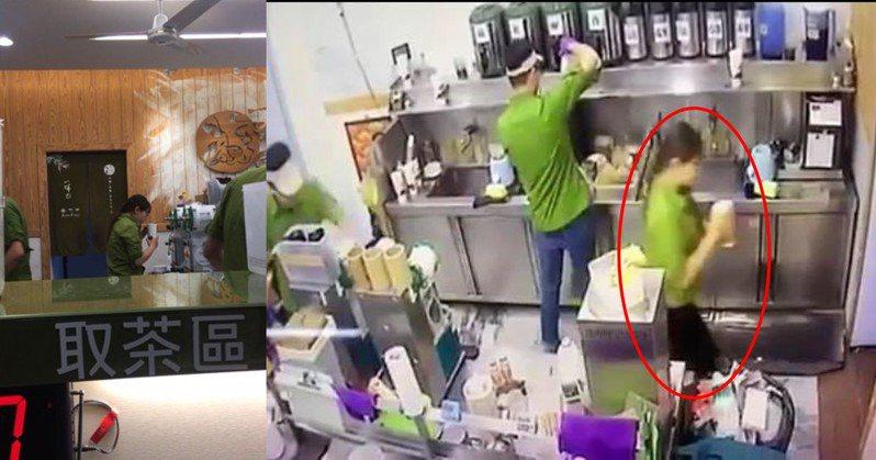 台中知名飲料店遭爆料,店員製作客人飲品時,先喝了幾口才封杯,相當不衛生(圖左)。事後店家出面澄清,那杯飲料是店員自己要喝的(圖右)。圖截自「爆料公社APP」