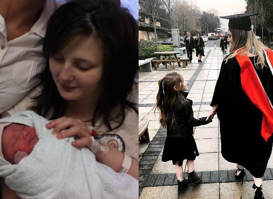 瑞秋14歲懷孕遭退學,6年後順利完成學業。圖擷自twitter