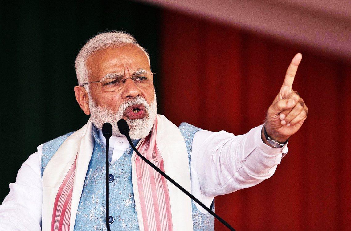 圖為2月莫迪在阿薩姆邦進行演講。 圖/美聯社