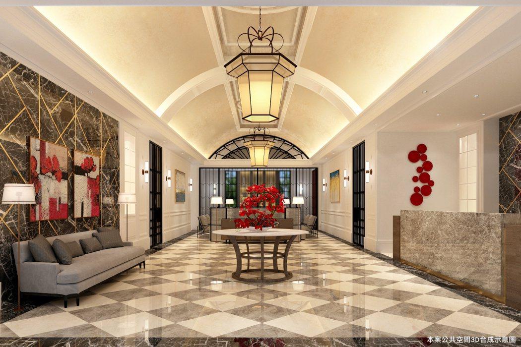挑高大廳以弧頂與鑲飾,營造華麗新古典現代風。 圖/青埔建設 提供