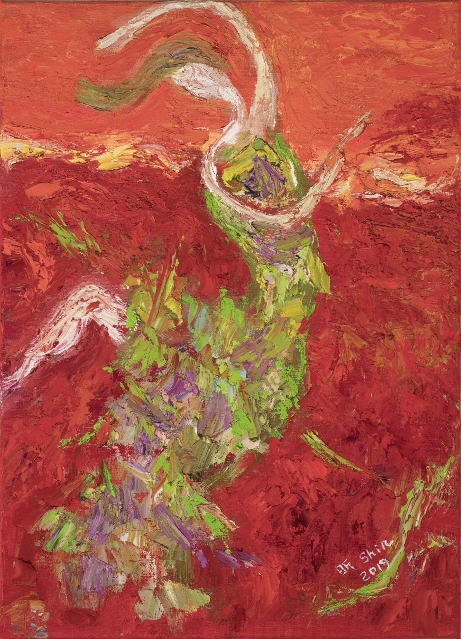 李昕作品「夢的渴望」,45.5 × 33.0 cm,油畫,2019。李昕/提供