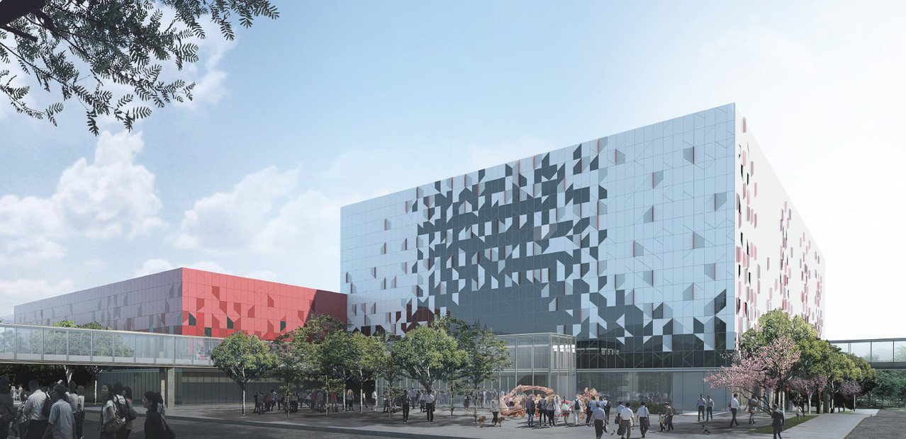 最有利標廠商團隊「根基營造有限公司」打造的桃園會展中心模擬圖。圖/桃園市政府提供