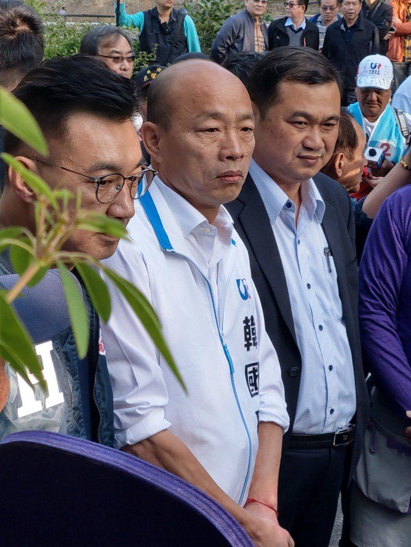 國民黨總統候選人韓國瑜今天赴台中參觀薰衣草花園。記者劉宛琳/攝影