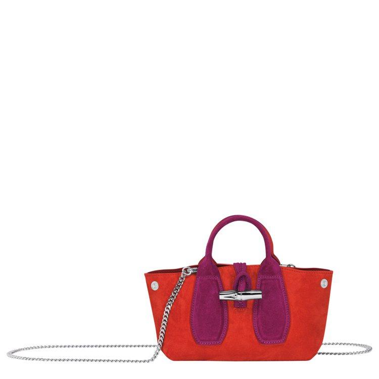 Roseau Velours紅色手提包,售價17,000元。圖/LONGCHAM...