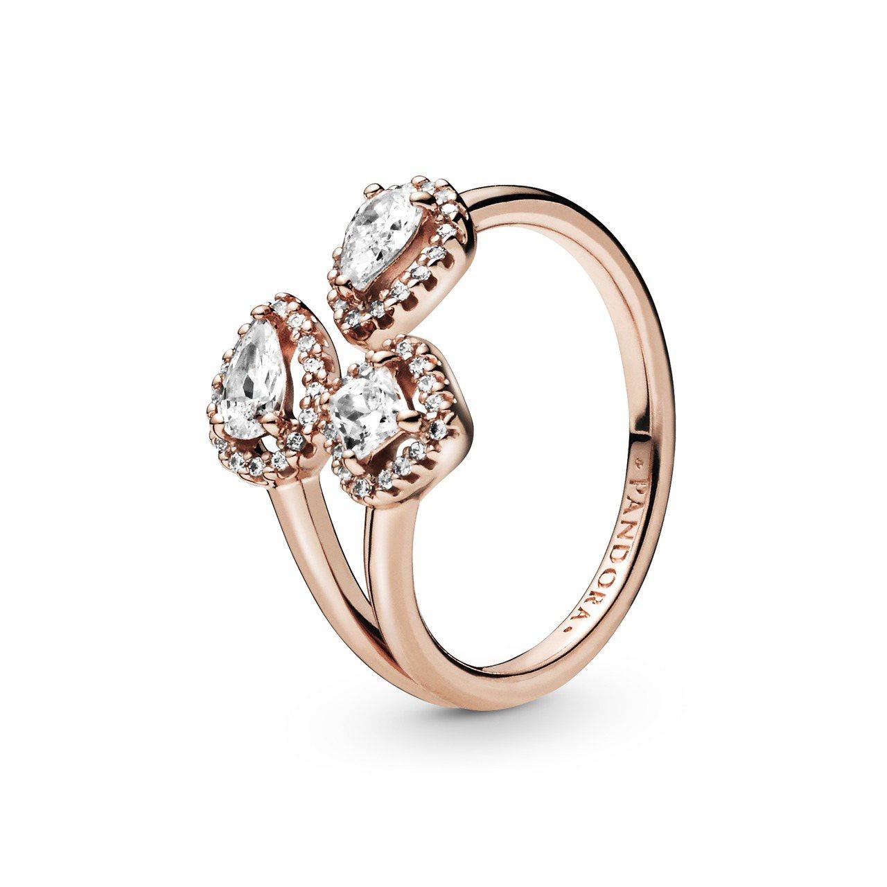 Pandora Rose 唯美幾何開放式戒指5,380元。圖/Pandora提供