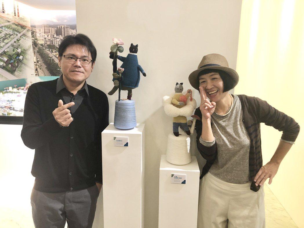 「澄石學而」總經理李柏毅(左)邀請鉤織藝術家張麗真(右)跨界合作,讓溫暖且饒富趣...