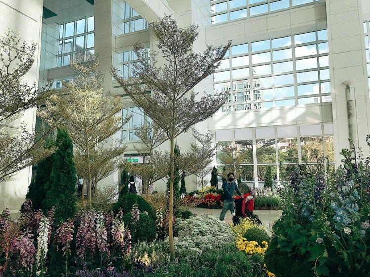 台北101辦公大樓一樓推出「島嶼花園」花藝裝置藝術。記者江佩君/攝影