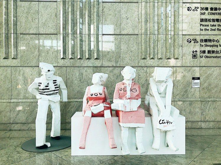 人間風景@台北101—朱銘雕塑展。記者江佩君/攝影
