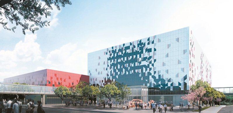 根基營造將桃花意象融入桃園會展中心建築設計,圖為模擬圖。 圖/桃園市政府提供