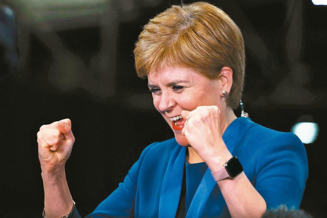 蘇格蘭民族黨黨魁史德金對於大選結果十分滿意。 (法新社)