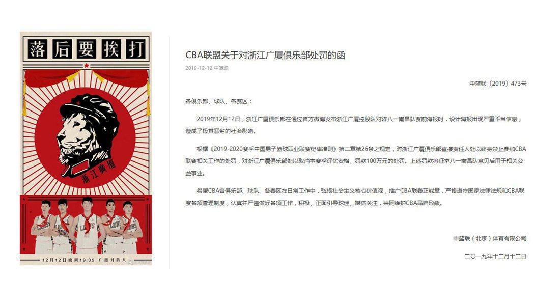 CBA浙江廣廈隊因為這張KUSO海報,吞下一張人民幣100萬元罰單。 圖/摘自微...