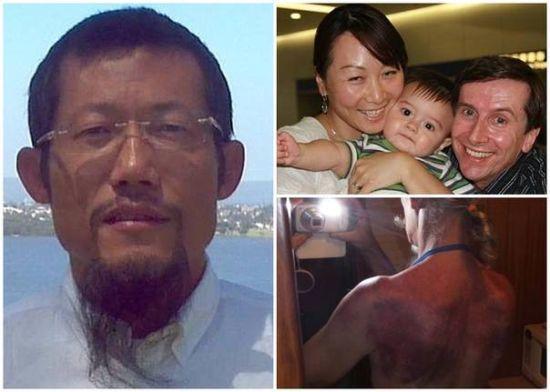 蕭宏慈(左)聲稱通過拉拍打身體和禁食,可以不藥而愈。圖翻攝自中國新浪
