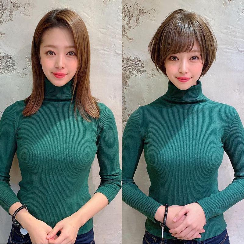 模特兒的理髮前後對比照,讓網友視線全歪。圖翻攝自Twitter「kimino_kinako」