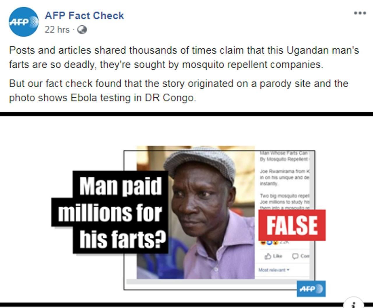 烏干達一名男子稱放屁能將方圓6米內的惡蚊「臭死」,但《法新社》求證部門調查後,發...