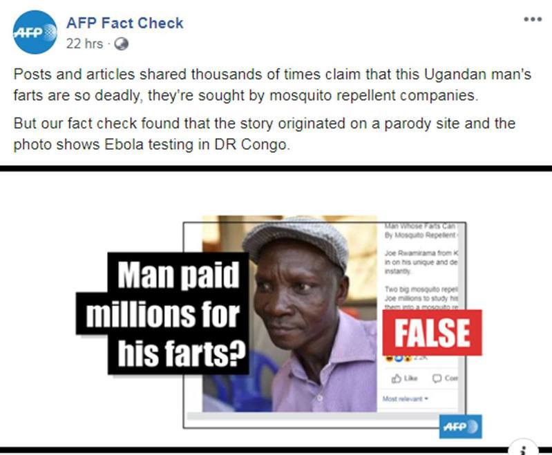 烏干達一名男子稱放屁能將方圓6米內的惡蚊「臭死」,但《法新社》求證部門調查後,發現上述消息實屬假新聞。圖翻攝自fb「AFP Fact Check」