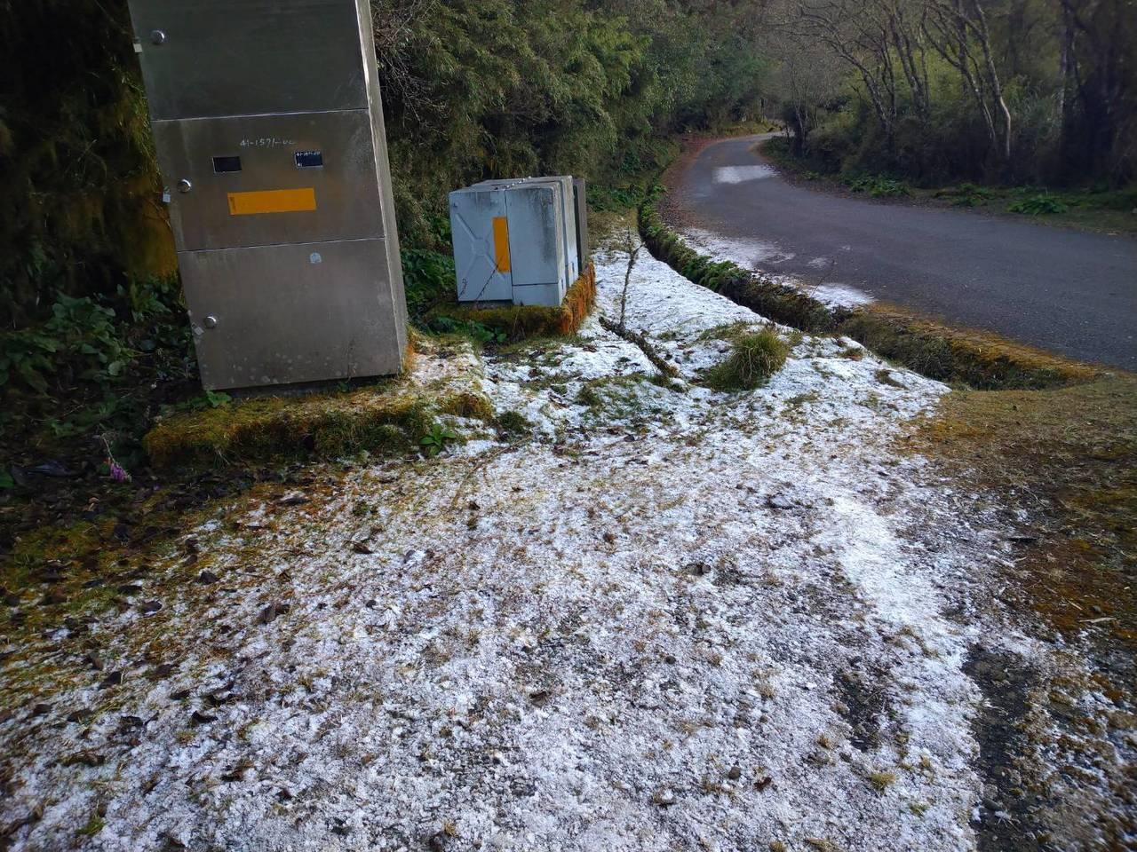 新中橫塔塔加今天清晨結霜,路面如同鋪上一層銀粉,讓遊客驚艷。圖/印莉敏提供