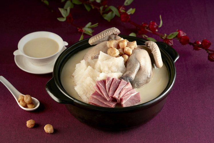台北喜來登請客樓的「花膠一品雞湯」,外帶價格6,800元。 圖/台北喜來登提供