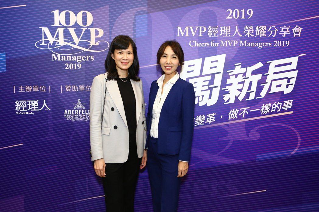 創業家兄弟總經理廖家欣(右)和松果購物總經理吳佩雯,今年獲「台灣Super MV...