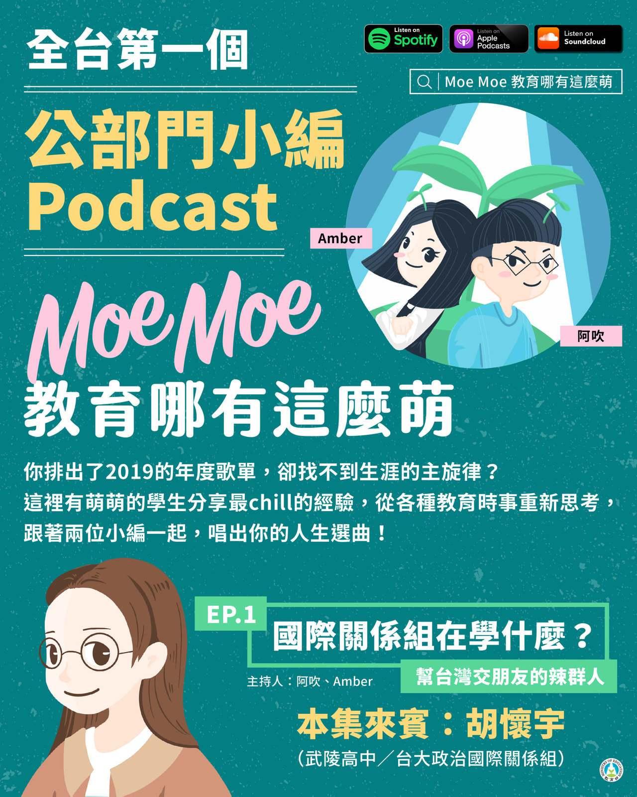 教育部推播客節目「Moe Moe教育哪有這麼萌」,協助高中生生涯探索。圖/取自教...