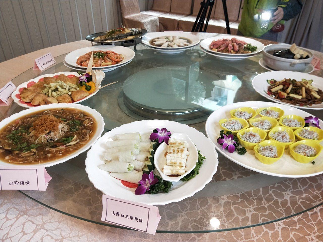 基隆山藥大餐今晚登場席開百桌,10道創意料理好吃。記者游明煌/攝影