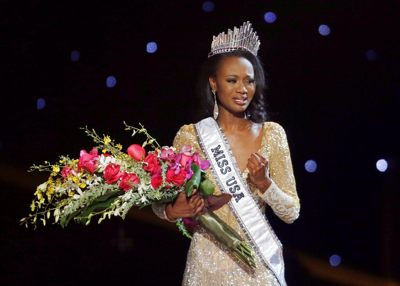 2016年美國小姐巴伯當時得知奪冠,一度哽咽。 (路透)