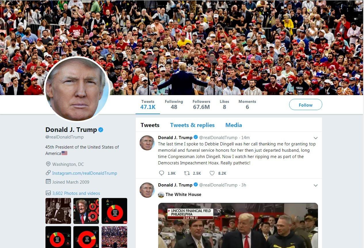 川普總統推特火力十足,成為他自我宣傳及對抗民主黨的利器。 川普推特