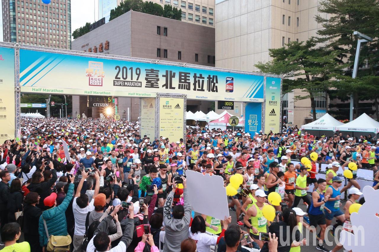 2019台北馬拉松上午6點半於台北市政府前廣場開跑。記者黃義書/攝影