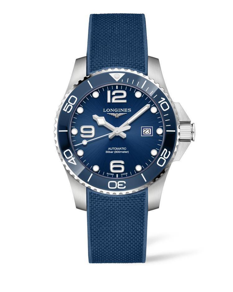 浪琴表深海征服者系列潛水表,不鏽鋼表殼搭配藍色陶瓷表圈,約51,900元。圖/L...