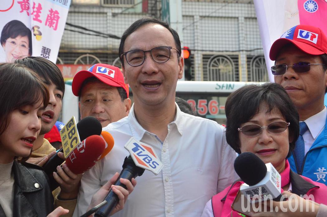 新北前市長朱立倫表示選前國民黨每場大型造勢地點都已決定。記者施鴻基/攝影