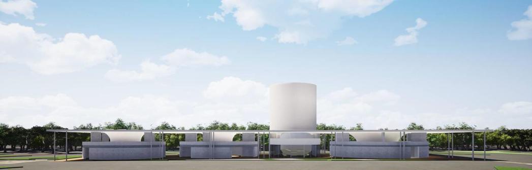 國道1號楊梅休息站整體造型特殊,其廁所為圓形外牆搭配漏斗造型頂蓋,充分融和自然光...