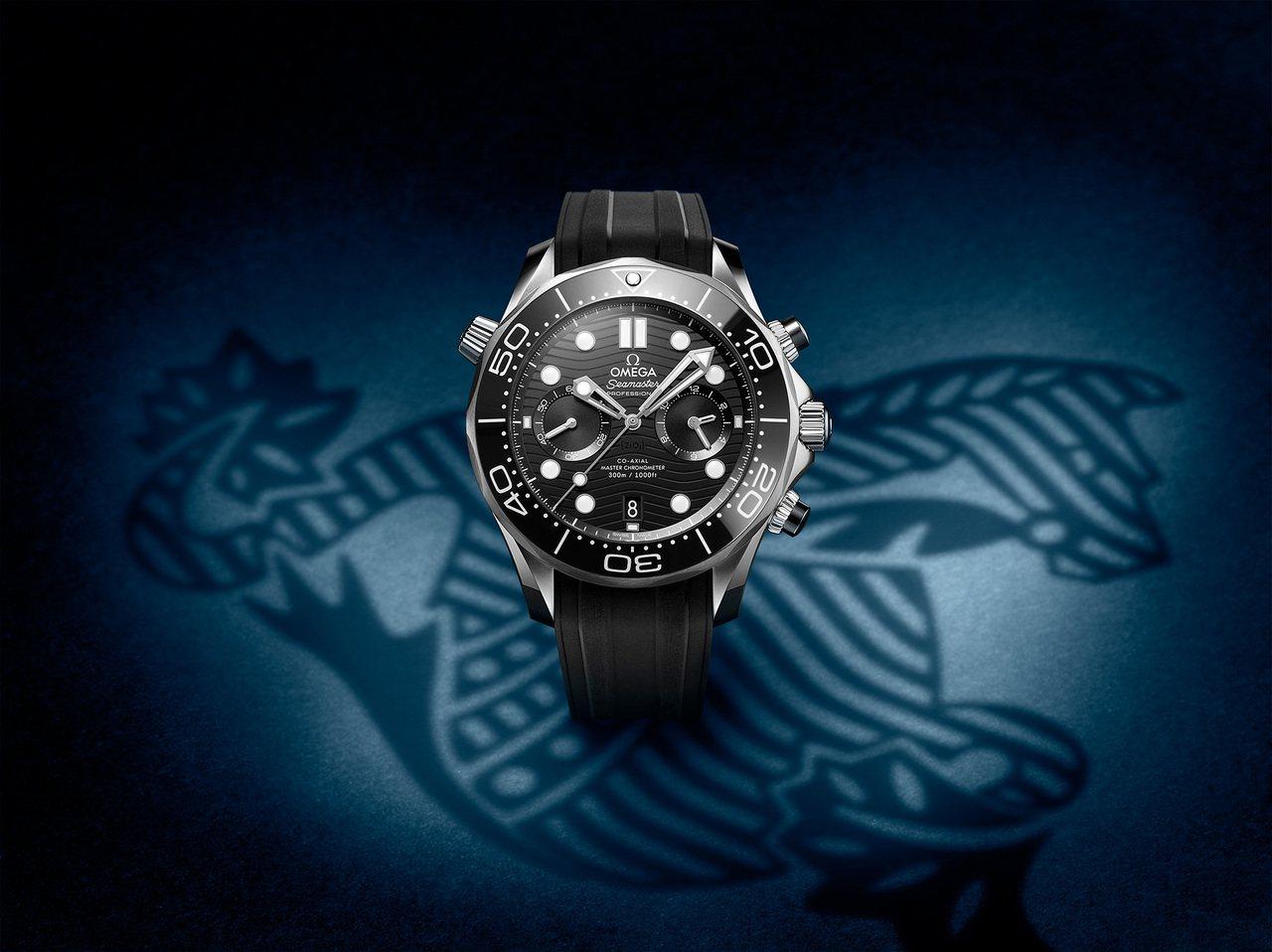 歐米茄海馬潛水300米計時碼表,不鏽鋼表殼搭配陶瓷表圈、表盤和計時按把,約23萬...