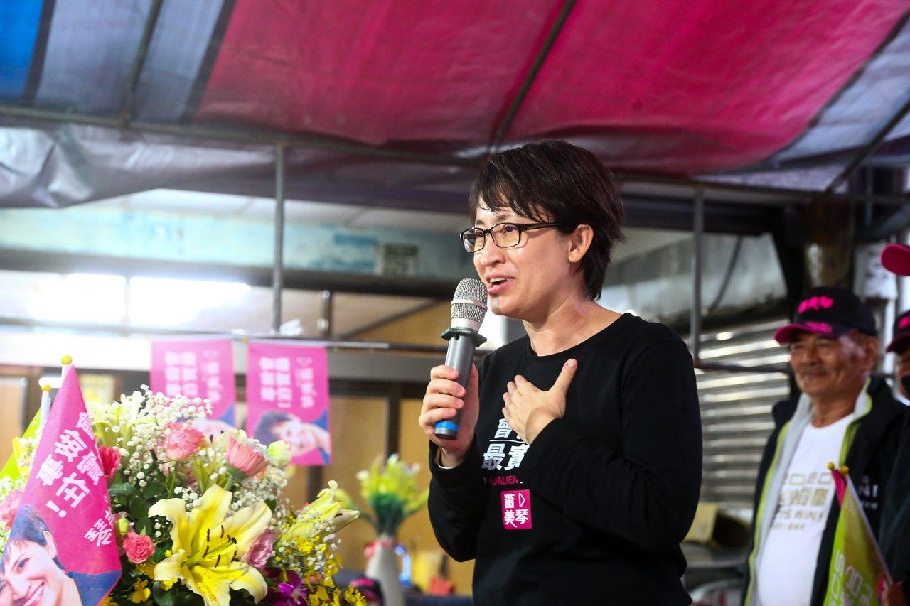 民進黨立委候選人蕭美琴表示2案是依立法程序,順利送委員會交付朝野協商。圖/立委候...