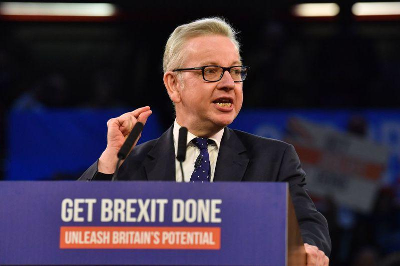 英國內閣大臣戈夫是首相強生的脫歐戰友。法新社