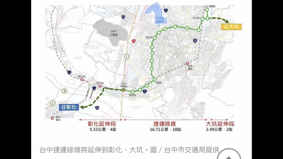台中捷運綠線延伸到彰化案,13日朝交通部退回研議。圖/台中市政府交通局提供
