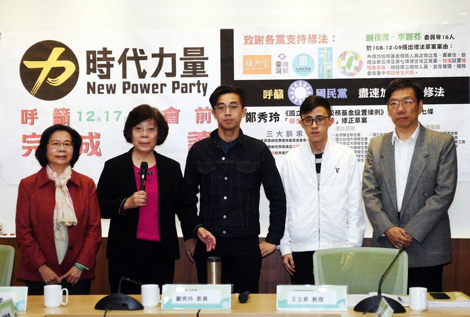 時代力量立委鄭秀玲(左2)呼籲朝野立委17日休會前,讓國立大學校院校務基金設置條例修正草案可以三讀通過。 中央社資料照
