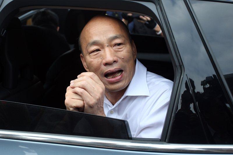今年8月底,韓國瑜表示自己的座車被安裝追蹤器。 圖/聯合報系資料照