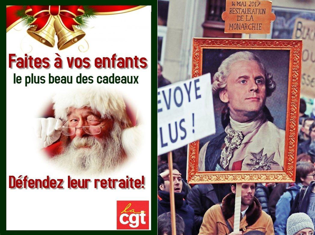 「給你孩子最好的耶誕禮物——保衛他們的退休金。」圖左為CGT工會文宣;圖右則為示...