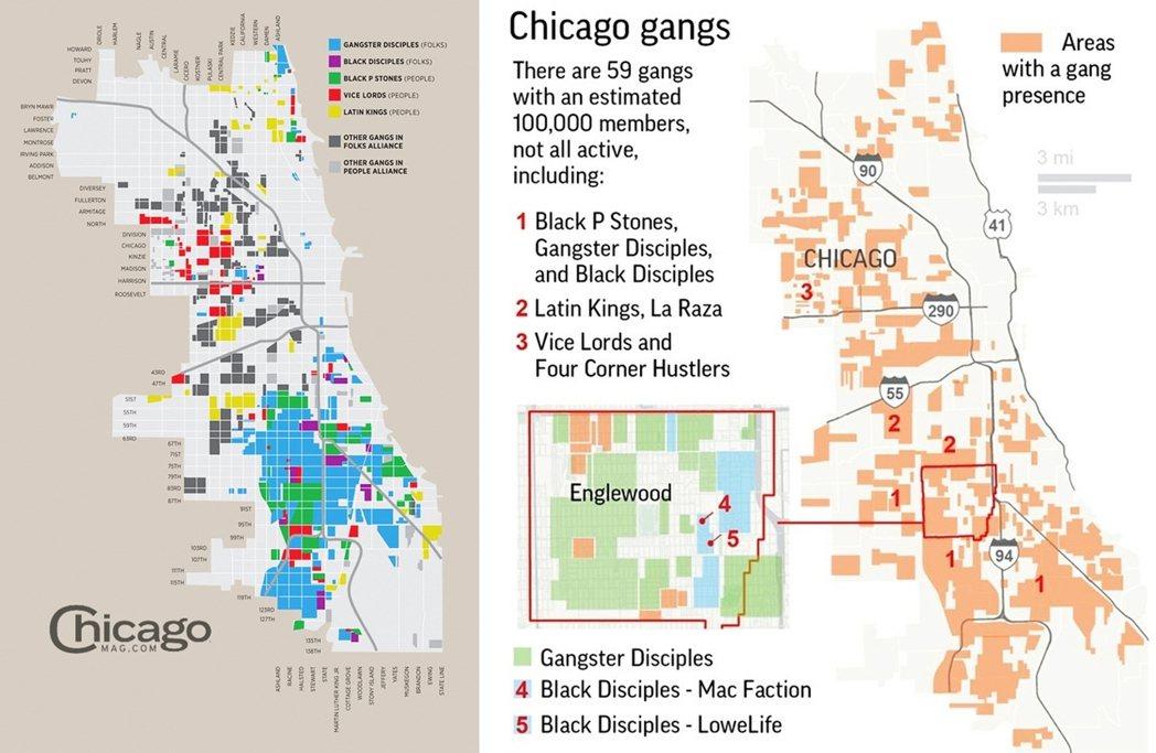 芝加哥警方估計全市約有十萬名幫派份子(芝加哥人口約三百萬),而幫派分界之明顯,甚...