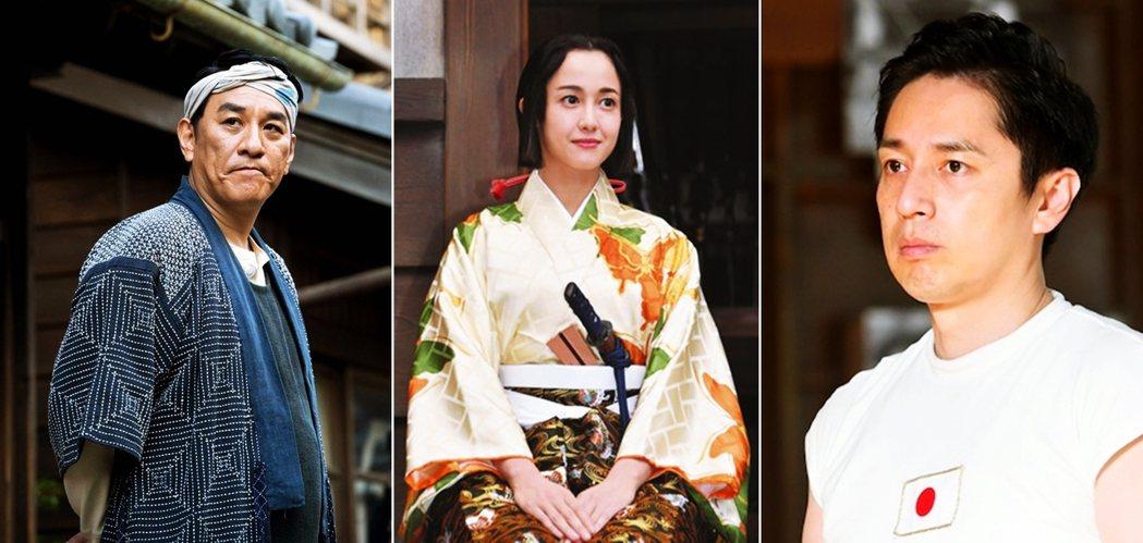 由左至右分別是:瀧正則飾演《韋駄天》的黑坂辛作、澤尻英龍華飾演《麒麟來了》的歸蝶...