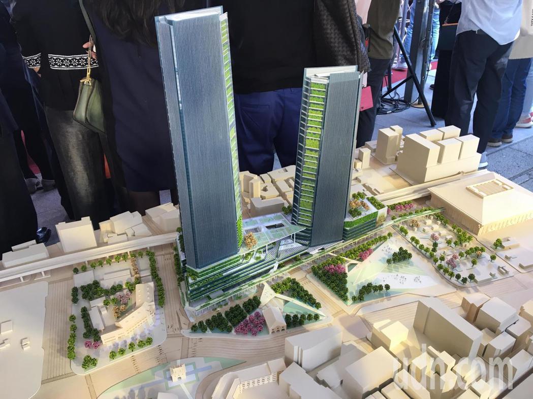 台北車站雙子星大樓聯合開發案模型。記者郭頤/攝影