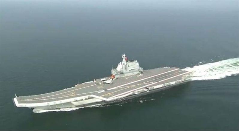 中國第一艘自製航空母艦「山東艦」 人民海軍視頻截圖