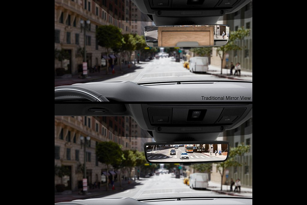ClearSight可切換電子車內後視鏡列為全車系標準配備,透過安裝於車頂天線的...