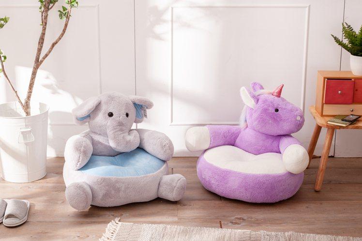 夢幻獨角獸動物造型椅,原價2,500元、生活工場會員限時特價1,390元。圖/生...