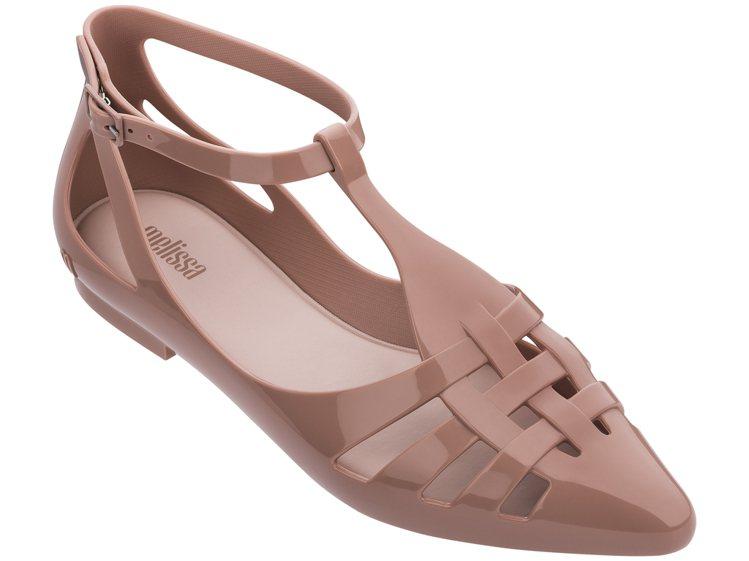 Ballerina 粉色繞踝流線尖頭涼鞋,售價2,980元。圖/Melissa提...