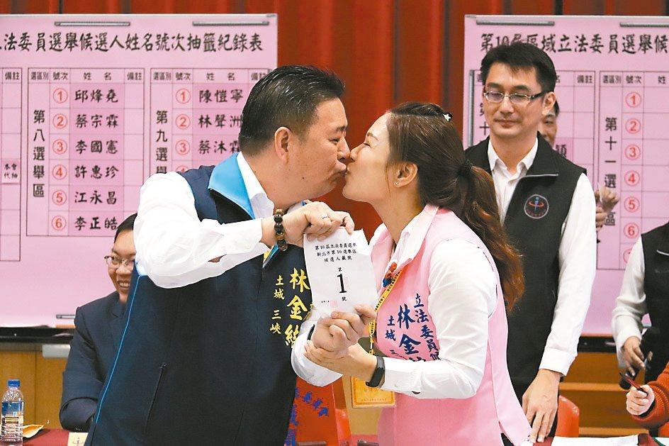 國民黨第10選區立委候選人林金結(左)與太太深情一吻,盼「一吻定江山」,結果抽中...
