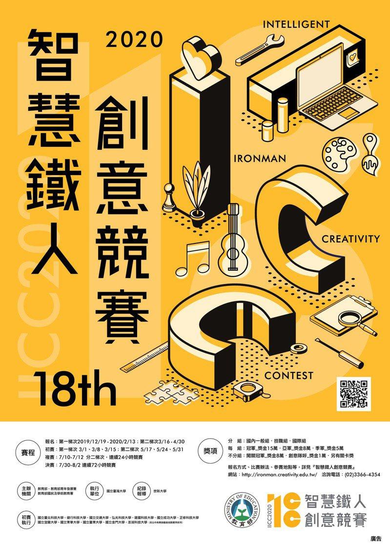 第18屆智慧鐵人創意競賽報名海報。圖/教育部提供